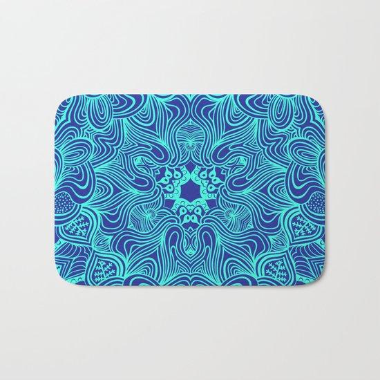 Blue on Blue, abstract pattern Bath Mat