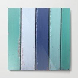 Cape Cod Shutters: Vintage Blue Wooden Boards Metal Print