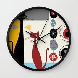 Mid-Century Modern Art Cats Wall Clock