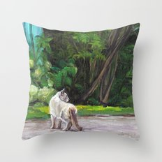 What the Cat Sees By the Hot Glass Studio Hydrangea Throw Pillow