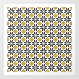 8 Point Star Pattern, Spicy Mustard, Charcoal Black Art Print