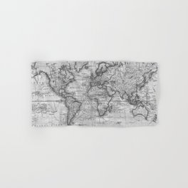 Black and White World Map (1801) Hand & Bath Towel