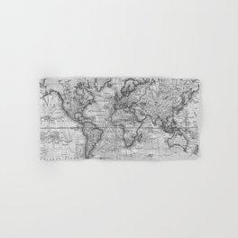 Black and White World Map (1801) Hand & Bath Towel