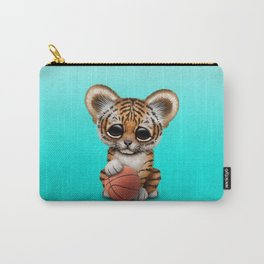 Tiger Cub Playing With Basketball Carry-All Pouch