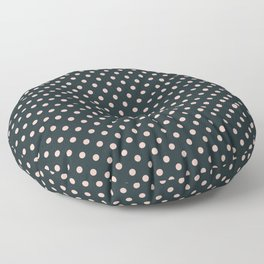 Small pink polka dots on a black background. Floor Pillow