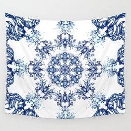blue garden mandala Wall Tapestry