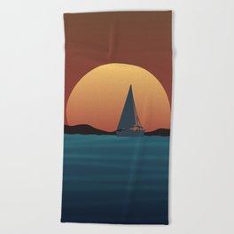 Boat Sunset Beach Towel