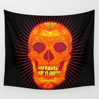 calavera Wall Tapestries featuring Orange Calavera Skull  by Joe Baron