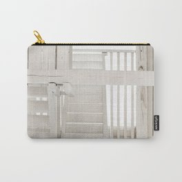 WHITE WOODEN FENCE ON WHITE WOODEN FLOOR Carry-All Pouch
