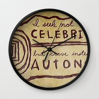 celebrity Wall Clocks featuring Celebrity & Autonomy by Josh LaFayette