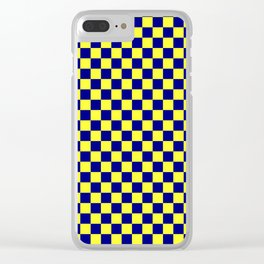 Electric Yellow and Navy Blue Checkerboard Clear iPhone Case