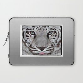 White Tiger with a little tougue Laptop Sleeve