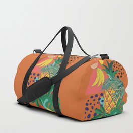 Geometric pineapple with tropical leaves and fruits retro design Duffle Bag