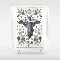maleficent Shower Curtains featuring Maleficent by Fountain Wren