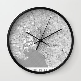 Melbourne Map Line Wall Clock