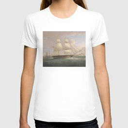 Vintage Fleet of Sailboats Painting (1845) T-shirt