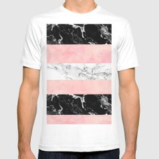 Modern color block stripes marble pink watercolor pattern Mens Fitted Tee MEDIUM White