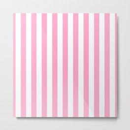 Sweet Lilac Pink Beach Hut Vertical Stripe Fall Fashion Metal Print