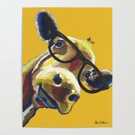 Yellow Glasses Cow, Cow up close glasses Poster
