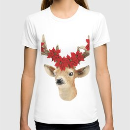 Deer with Christmas Flowers T-shirt