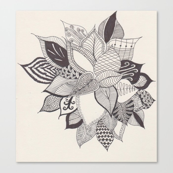 Zentangle Plant Canvas Print By Bbyblue Society6