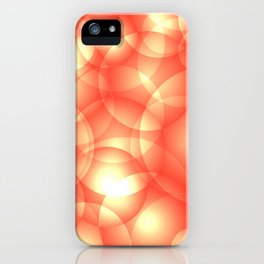 Gentle intersecting orange translucent circles in pastel shades with glow. iPhone Case