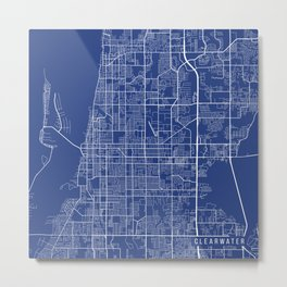 Clearwater Map, USA - Blue Metal Print
