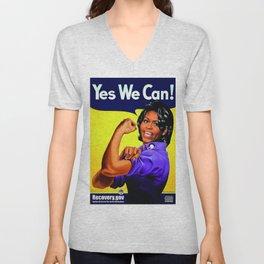 """Recovery.gov"", Michelle Obama as Rosie the riveter. Unisex V-Neck"