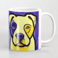 pitbull Mugs featuring Yellow & Purple Pitbull  by Gianna Brucato