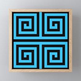 Graphic Geometric Pattern Minimal 2 Tone Zig-Zag Swirl (Blue Teal & Black) Framed Mini Art Print