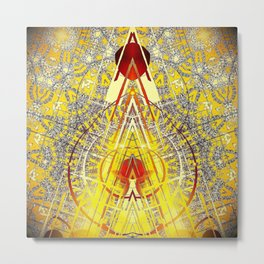 Bright Yellow Pedistal with Rubies Metal Print