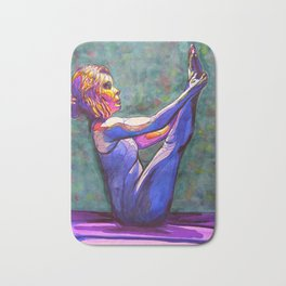Stained Glass Boat Pose Bath Mat