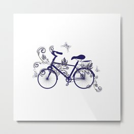 Bicycle and Floral Ornament Metal Print