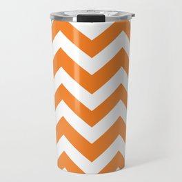 Princeton orange - orange color - Zigzag Chevron Pattern Travel Mug