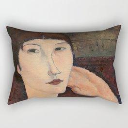 "Amedeo Modigliani ""Adrienne (Woman with Bangs)"" (1916) Rectangular Pillow"