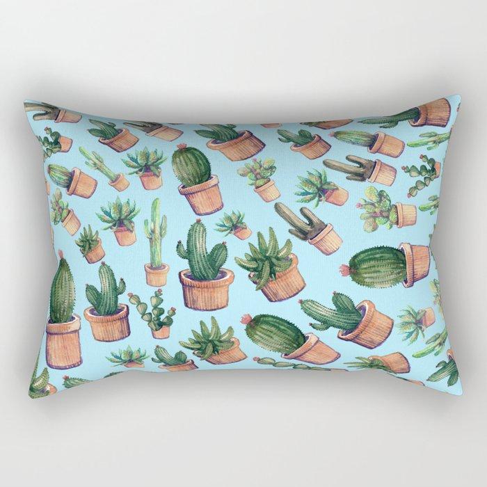 Blue cactus invasion Rectangular Pillow