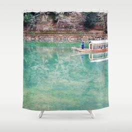 Riding Around Arashiyama, Boats and Trees Reflected in the Canals Shower Curtain