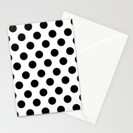 Black and White Medium Polka Dots Stationery Cards