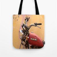 motorbike Tote Bags featuring Vintage motorbike  by Theoteom