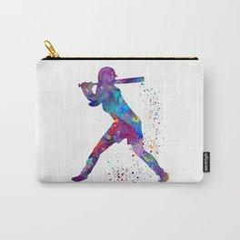 Girl Baseball Softball Batter Watercolour Sports Art Colorful Baseball Print Carry-All Pouch