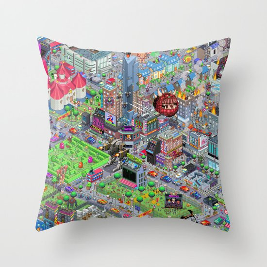 Videogame City V2.0 Throw Pillow