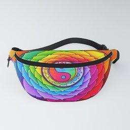 Healing Lotus Rainbow Yin Yang Mandala Fanny Pack
