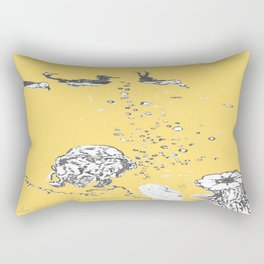 Two Tailed Duck and Jellyfish Pale Yellow Mellow Rectangular Pillow