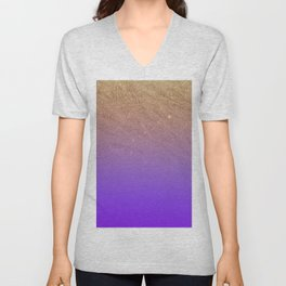 Elegant gold faux glitter chic purple gradient pattern Unisex V-Neck