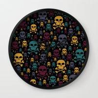 skulls Wall Clocks featuring Skulls by Alice Gosling