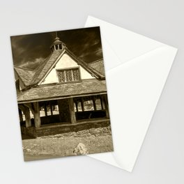 Dunster Yarn Market in Sepia Stationery Cards