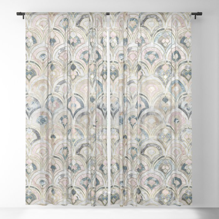 Art Deco Marble Tiles in Soft Pastels Sheer Curtain