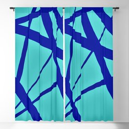 Glowing Aqua and Cobalt Geometric Abstract Blackout Curtain