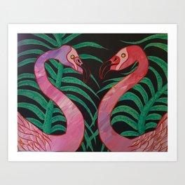 Birthday Flamingos Art Print