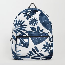 Blue tropical palm leaves Backpack